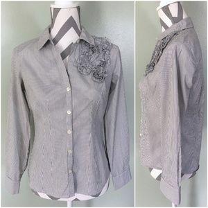 ANN TAYLOR LOFT Black White Striped Floral Shirt